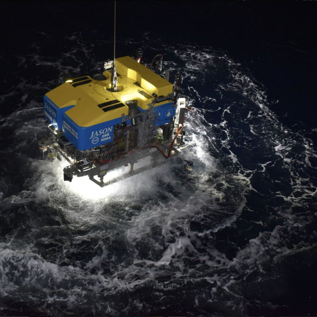The ROV Jason rises from the deep after diving in the International District Hydrothermal Field. Credit: University of Washington.