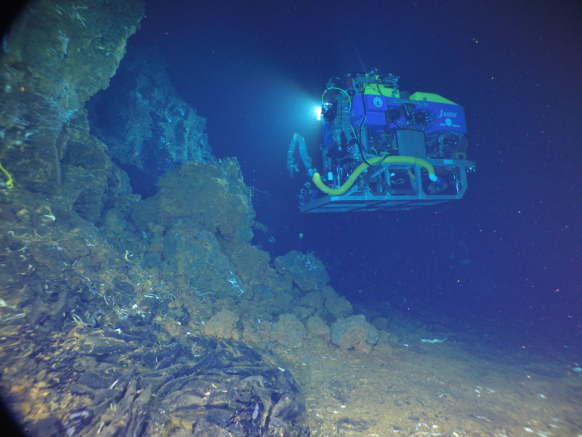 Jason sampling vents and volcanic seafloor