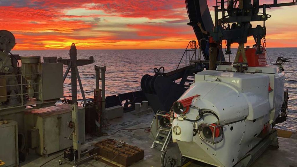 Alvin on deck at sunset